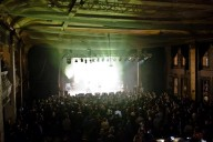 View of Turner Hall stage and sold out crowd from the balcony.